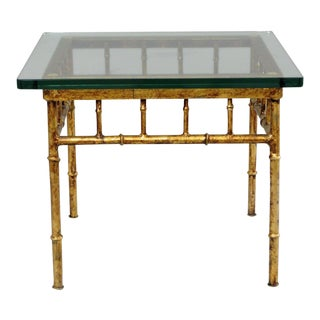 Italian Gold Gilt Iron Glass Faux Bamboo Square Side Table