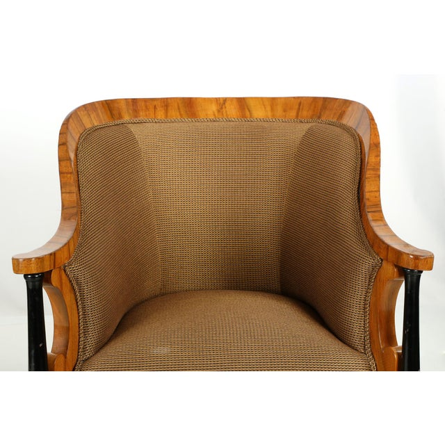 Biedermeier Pair of Ebonized Biedermeier Tub Arm Chairs, Circa 1825 For Sale - Image 3 of 10