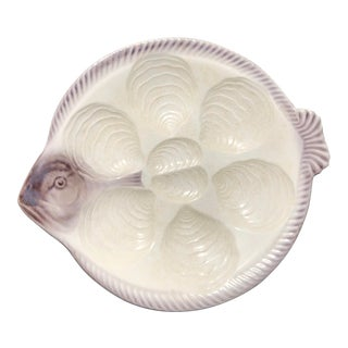 Antique Fish-Shaped German Oyster Plate For Sale