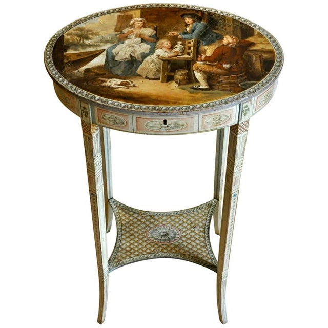 Paint Period English Robert Adam Painted Neoclassical Work Table, Circa 1770 For Sale - Image 7 of 7