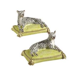 Contemporary Chelsea House Inc. Leopard Figurines - a Pair For Sale