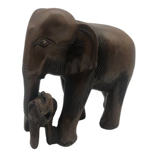 Vintage Wooden Elephant With Baby For Sale