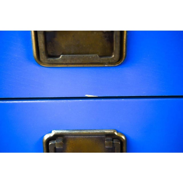 Mid Century Campaign Style Blue Tall Chests of Drawers-a Pair For Sale - Image 11 of 13