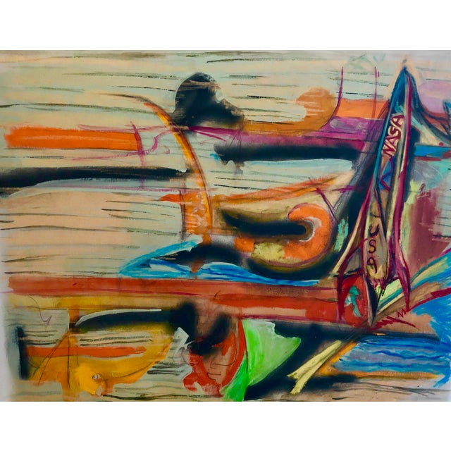 Abstract Expressionism Cape Canaveral Painting on Nylon 34 X 27 by Erik Sulander For Sale - Image 3 of 3