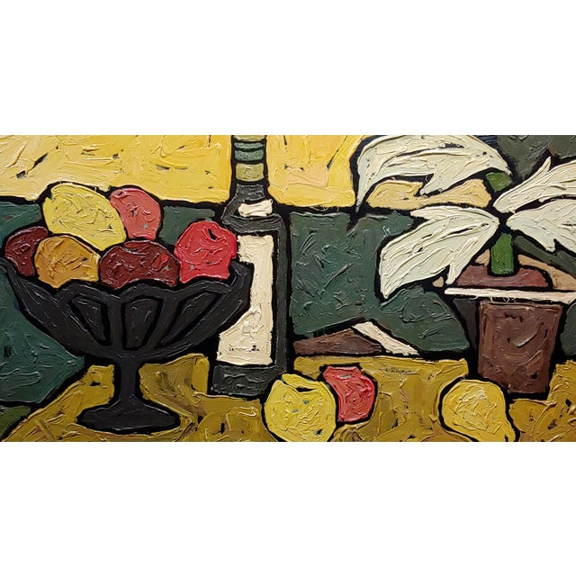 """""""Still Life of Fruits"""" 1960s French Oil Painting by Bernet For Sale - Image 4 of 10"""