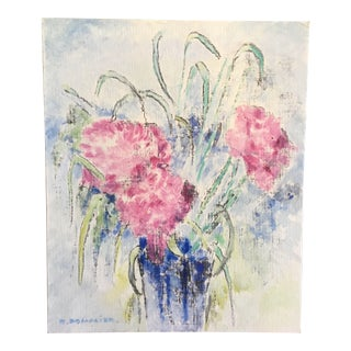 Vintage French Original Pink Floral Oil Painting For Sale