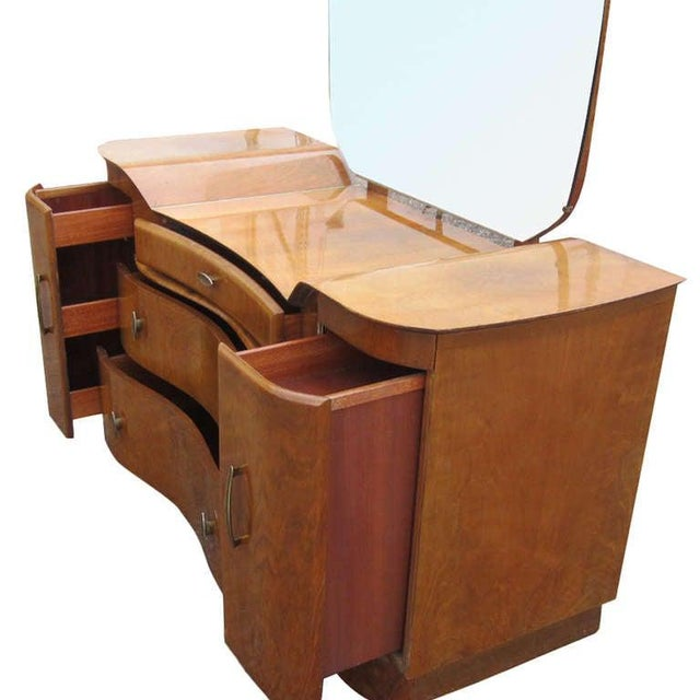 Art Deco Art Deco Mahogany Vanity Dresser With Mirror For Sale - Image 3 of 5