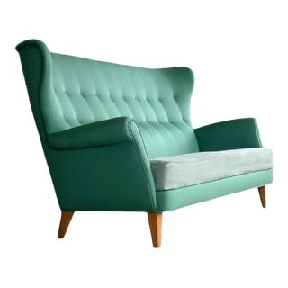 Danish Midcentury Fritz Hansen Style Highback or Wingback Sofa, Circa 1955 For Sale