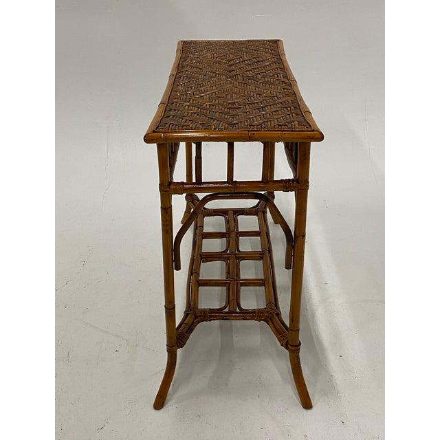 Wood Organic Modern Bamboo and Rattan Console For Sale - Image 7 of 12