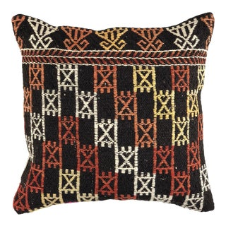 "Reclaimed Vintage Kilim Pillow | 16"" For Sale"