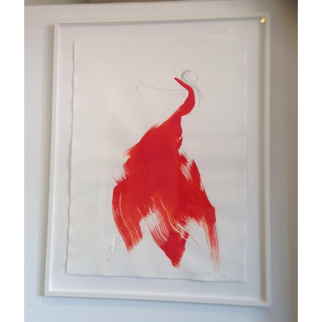 """Battina Mauel Abstract Painting """"The Red Cloth 26"""" - Image 2 of 3"""