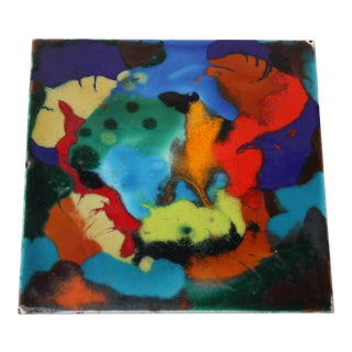 Mid-Century Abstract Enamel on Metal Tile For Sale
