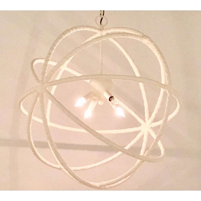 Stylish contemporary Regina Andrew White Textured Orb Pendant, metal, showroom floor sample, original retail $1047