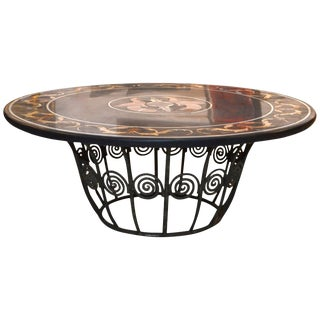 19th Century Neoclassical Style Wrought Iron Base Pietra Dura Top Coffee Table