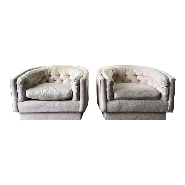 Vintage Mid-Century Milo Baughman Style Tufted Barrel Chairs - A Pair For Sale