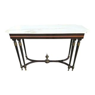 Vintage Neoclassical Wood Brass + Italian Marble Console Sofa Entryway Table For Sale