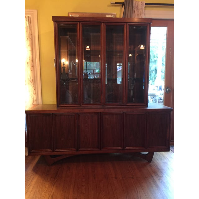 1960s Mid-Century Modern Walnut Credenza Hutch For Sale - Image 13 of 13