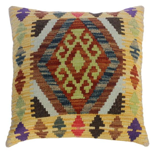 "Christi Gold/Brown Hand-Woven Kilim Throw Pillow(18""x18"") For Sale"