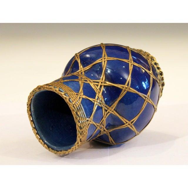 Ceramic Antique Awaji Pottery Japanese Arts & Crafts Cup Brush Pot Jar Bronze Weave For Sale - Image 7 of 12