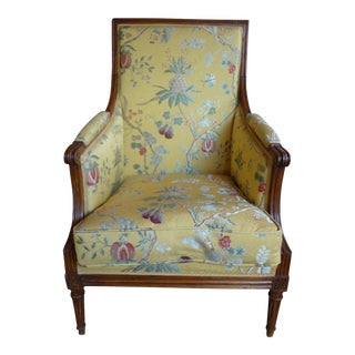 Single 19th Century French Walnut Bergere For Sale