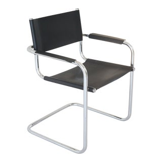 1960s Vintage Chrome and Black Leather Cantilever Arm Chair For Sale