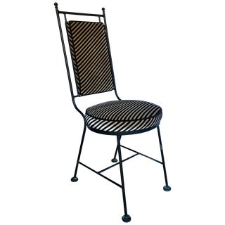 1950s Mid-Century Modern Iron and Striped Salterini Style Chair For Sale