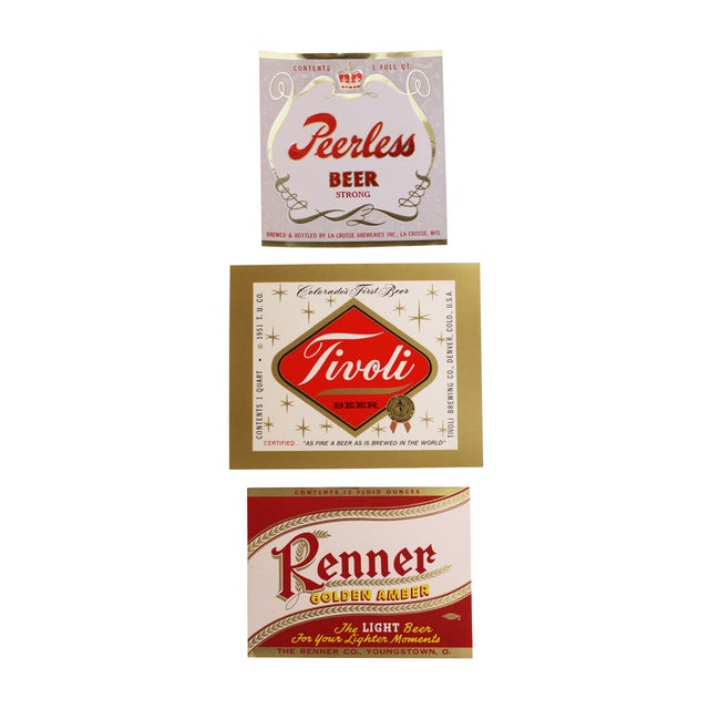 Mid Century Beer Labels - Set of 3 - Image 1 of 4