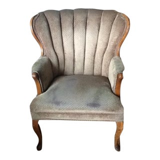 Vintage Scalloped Back Wingback Chair