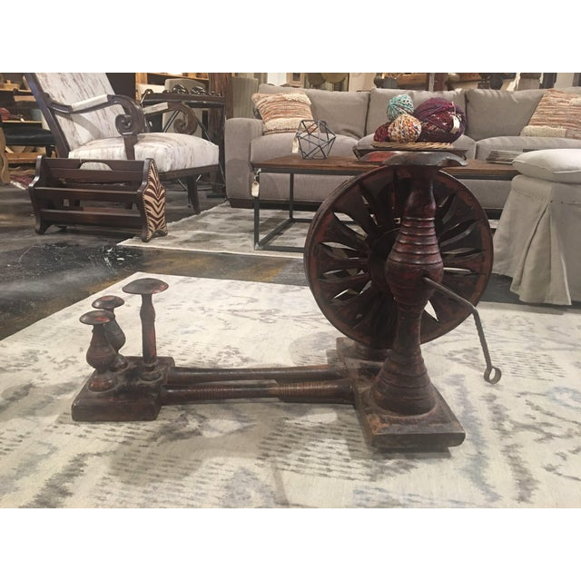 Antique Distressed Red Spinning Wheel For Sale - Image 11 of 11