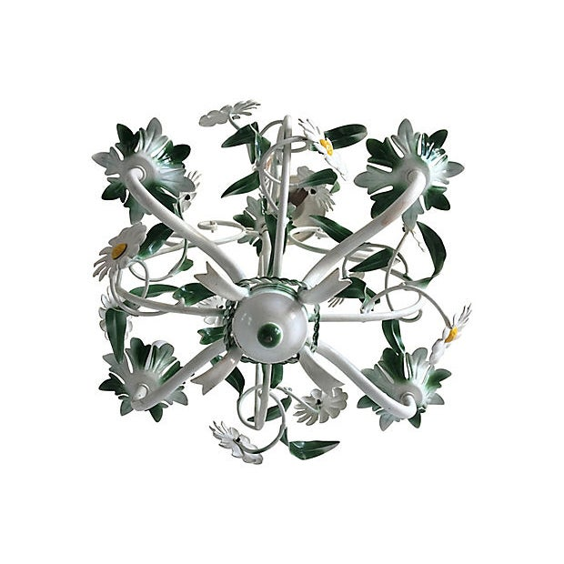 Ceramic 1950s Italian Daisies Chandelier For Sale - Image 7 of 8