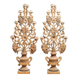 Carved Flower Basket Decor - A Pair For Sale