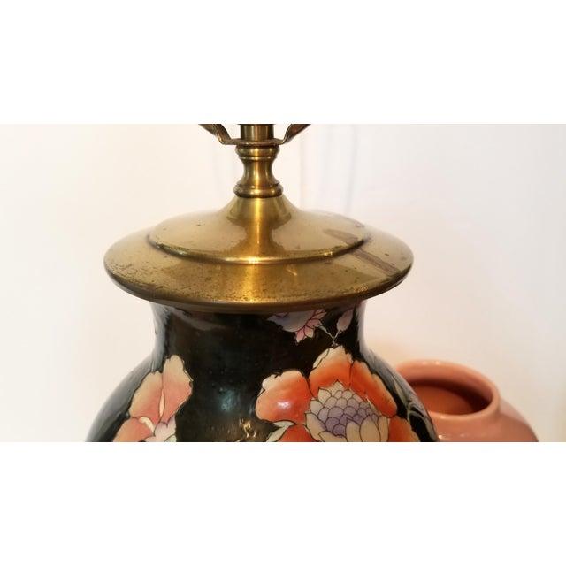 Vintage Asian Black and Pink Floral Porcelain Table Lamp For Sale - Image 12 of 13