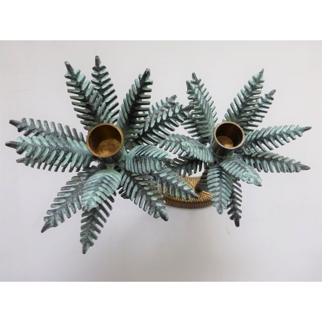 Add some tropical flair to your decor with this unique vintage candle holder. All non magnetic, with verdigris palm leaves...