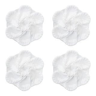 Fleur De Lis White Oyster Plates - Set of 4 For Sale