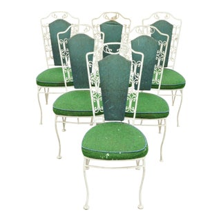 Vintage Antarenni Woodard Andalusian Style Wrought Iron Patio Dining Chairs - Set of 6 For Sale