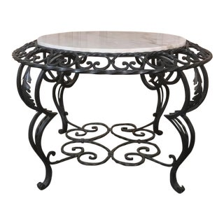 Mid-Century French Wrought Iron Marble-Top Coffee Table For Sale