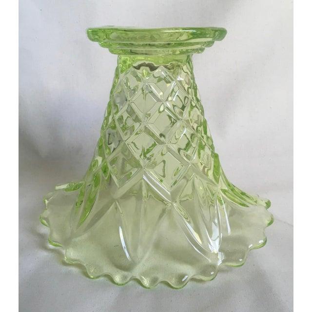 """Vintage 1930s Art Deco Uranium Green Glass """"Manchester Basket"""" Vase - Image 8 of 10"""