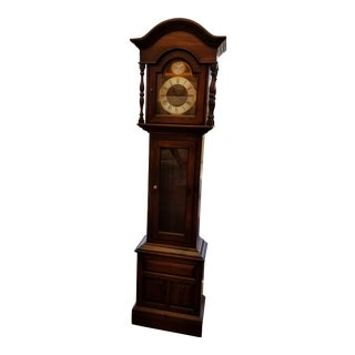 Ethan Allen Antique Pine Grandfather Clock For Sale