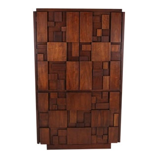 Lane Mid Century Brutalist Armoire For Sale