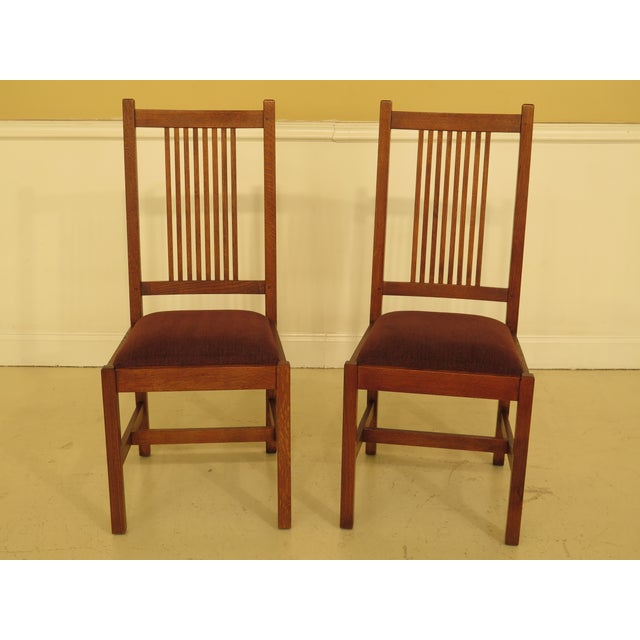 Set Of 4 STICKLEY Mission Oak Dining Room Chairs Age: C.2000 Details: #32 Finish High Quality Construction Solid Oak...