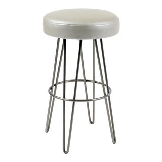 Silver Grey Leather Hairpin Swivel Barstool For Sale