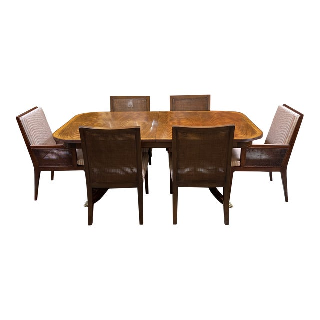 Jonathan Charles Regency Extension Table & Baker Furniture + Custom Chair Dining Set For Sale