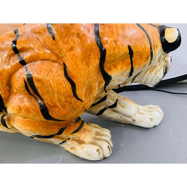 Midcentury Italian Terracotta Tiger Statue or Sculpture For Sale - Image 9 of 12