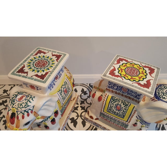 Ceramic Elephant Side Tables - A Pair - Image 7 of 11