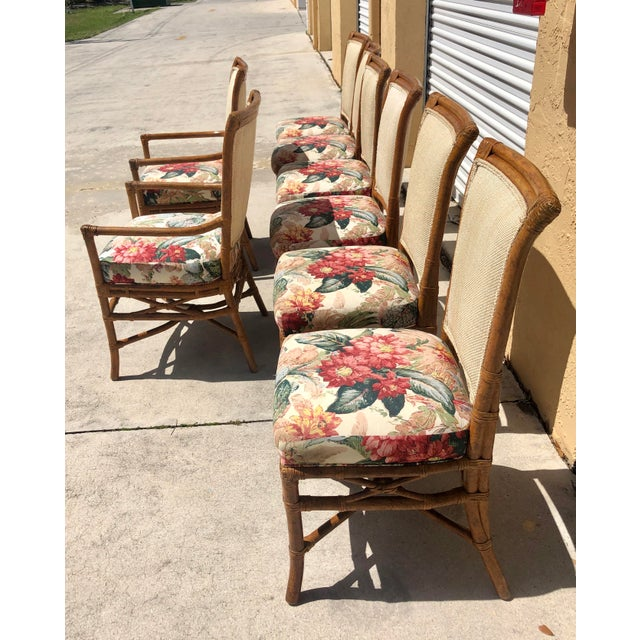 McGuire or Palecek Bamboo Leather Wrapped Dining Chairs- Set of 8 For Sale In West Palm - Image 6 of 12