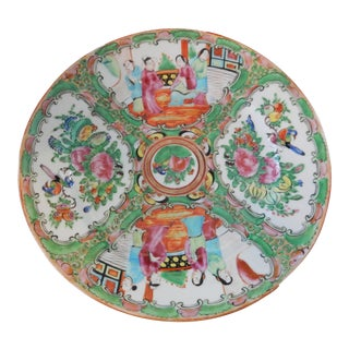 "Antique Chinese Export Porcelain Rose Medallion Plate 8.25"" D For Sale"