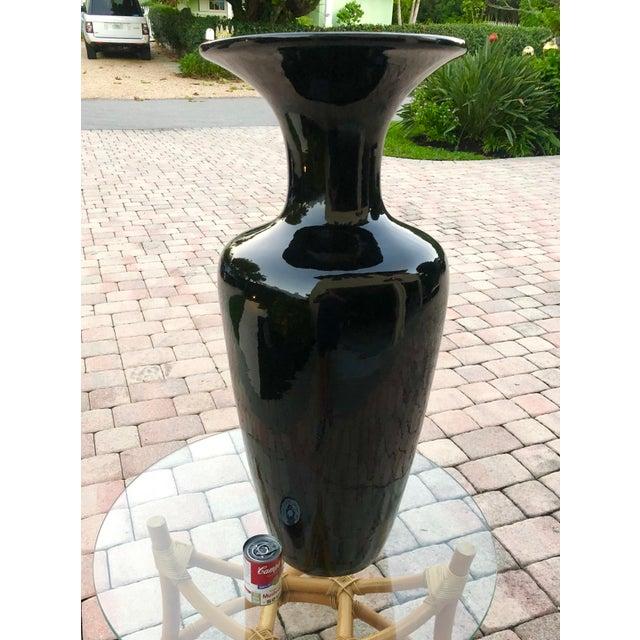 Boho Chic 1980s Vintage Black Ceramic Vase For Sale - Image 3 of 6