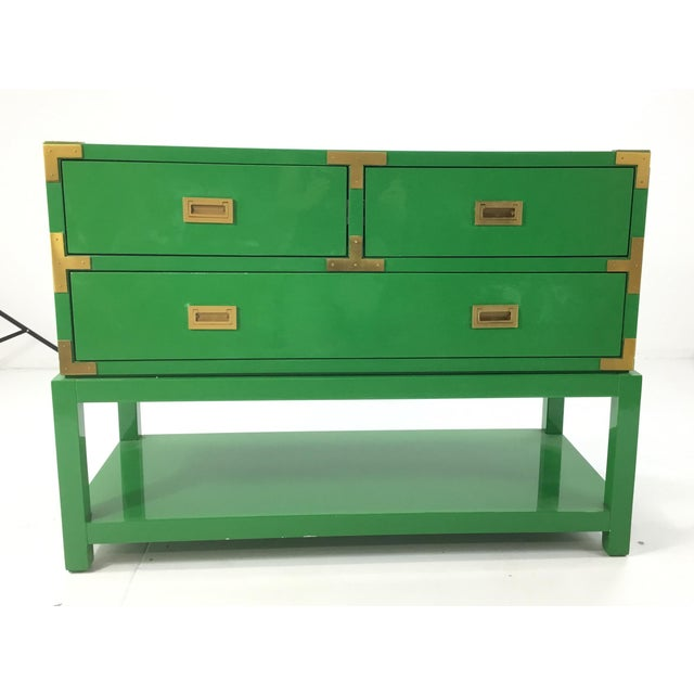 Green Bungalow 5 Green Lacquer Tansu Console Chest For Sale - Image 8 of 8