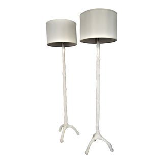 Faux Bois Floor Lamps White With Shades and Finials - a Pair - Mid Century Modern MCM Serge Roche Hollywood Regency Palm Beach Boho Chic Tree For Sale