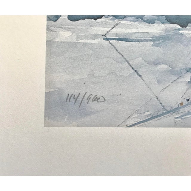 Beautiful watercolor lithograph of a sailboat - we can almost feel the smell of the ocean and the rocking of the boat! -...